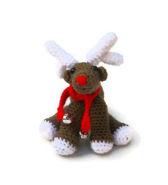 Amigurumi Crochet Christmas Ornaments : Crochet reindeer amigurumi Christmas plush Xmas ornament ...