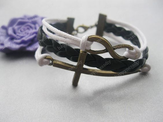 braceletkarma braceletantique bronze cross by happynessDIY on Etsy, $7.99