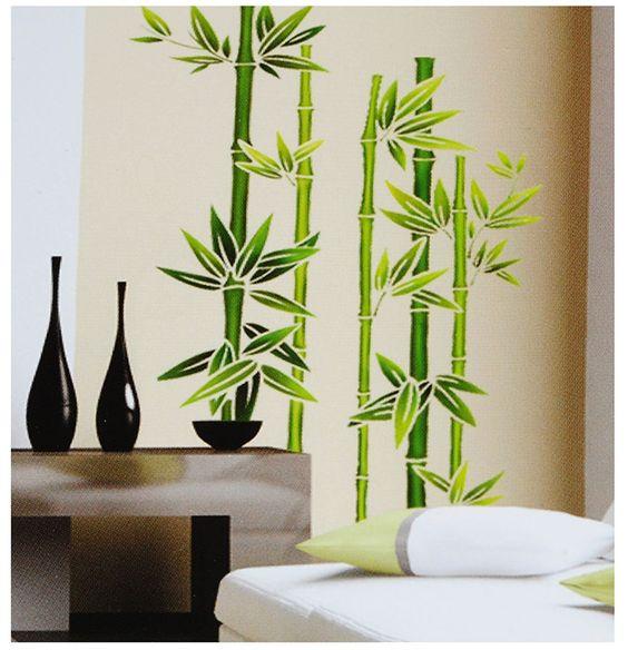 kleiner Schmetterling - Pflanze - Bambus Wandtattoo in 6 Größen - wandtattoos fürs badezimmer