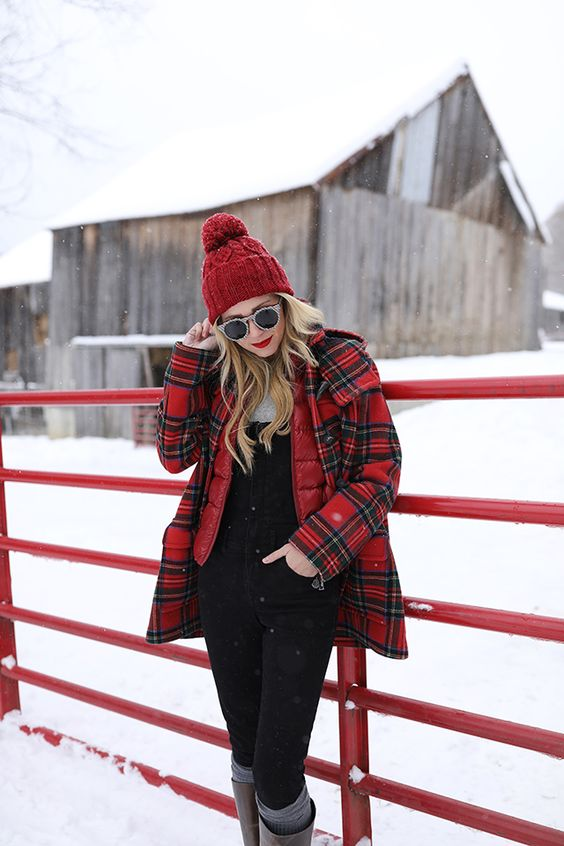 Blair Eadie wearing a plaid toggle coat and winter boots in Vermont // Click through to see more plaid outfits and cold weather looks on Atlantic-Pacific