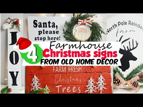 Farmhouse Christmas Signs Reusing Old Home Decor Christmas Diy Christmas Decor 2020 Youtube In 2020 Christmas Diy Christmas Signs Farm Fresh Decor