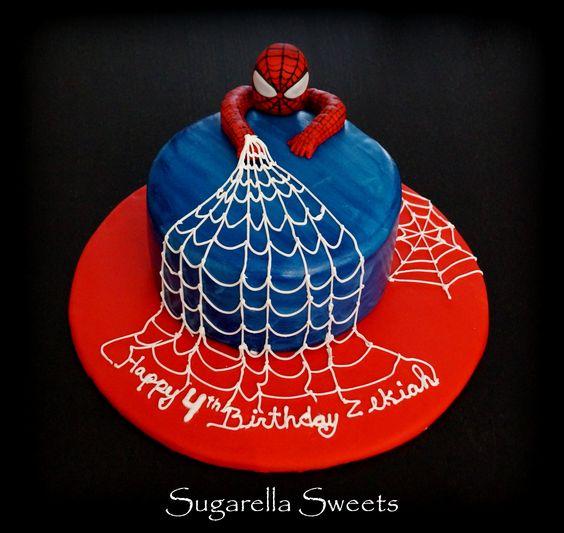 Spiderman cake with edible cobweb icing. www.SugarellaSweets.com