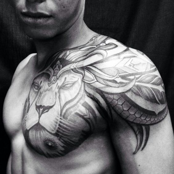 Lion tattoo | chest through shoulder & back.