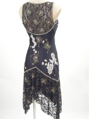 0s Flapper Style Beaded Black Satin and Lace Cocktail Dress, 2o's vintage style dress