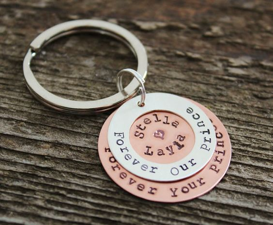 Personalized Keychain Silver And Copper by 2sistershandcrafted, $38.00