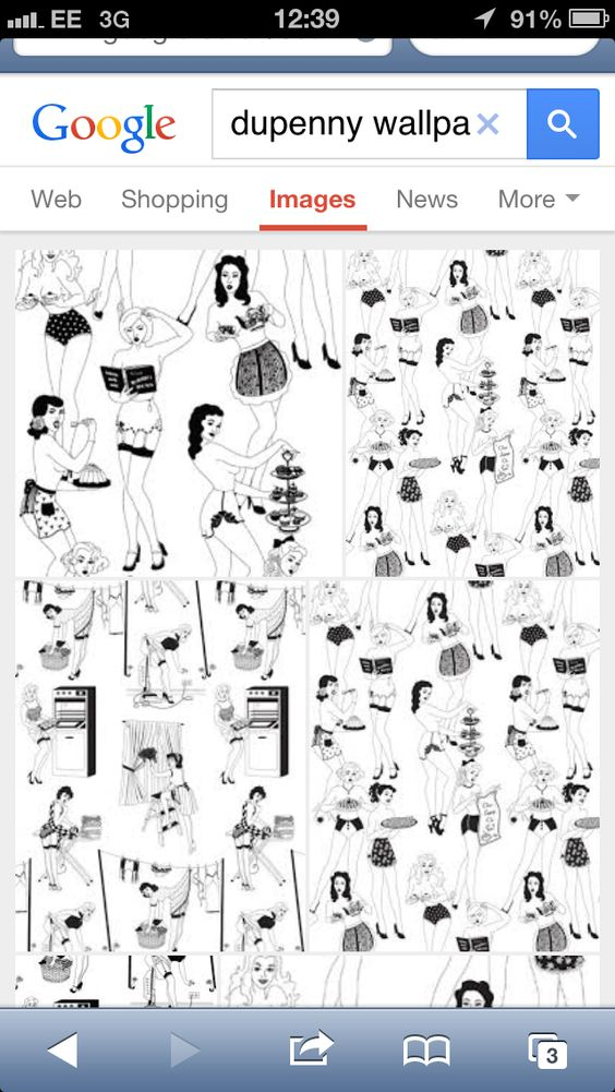 Dupenny wallpaper - time for tea 1950's housewife
