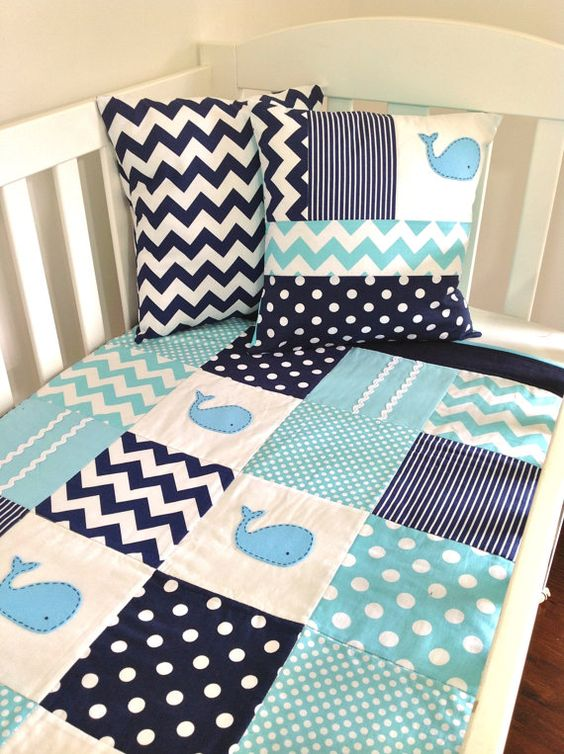 Whale Baby Quilt Set Baby Boy Crib Quilt And Two Cushion
