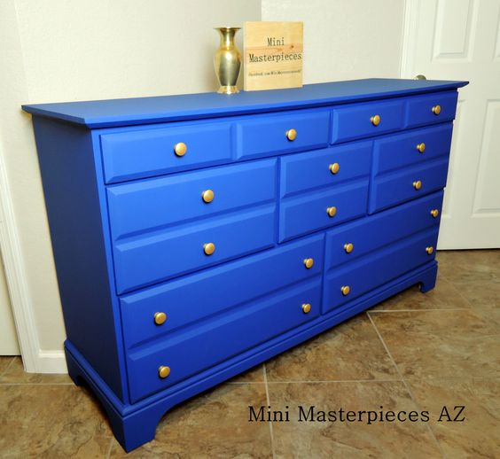Blue and gold dresser. Fully refinished bu Mini Masterpieces AZ.   #minimasterpiecesaz #blue #gold #painteddresser #refinished #refurbished #paintedfurninture