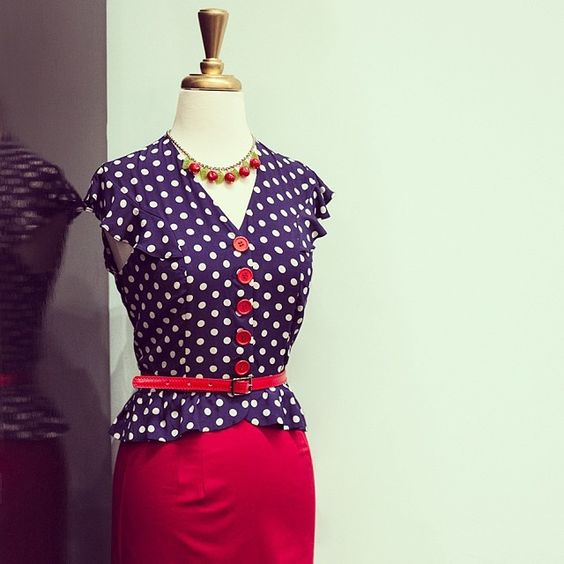 Look spot on in the new Louise Blouse in Big Polka and red Pencil Skirt!