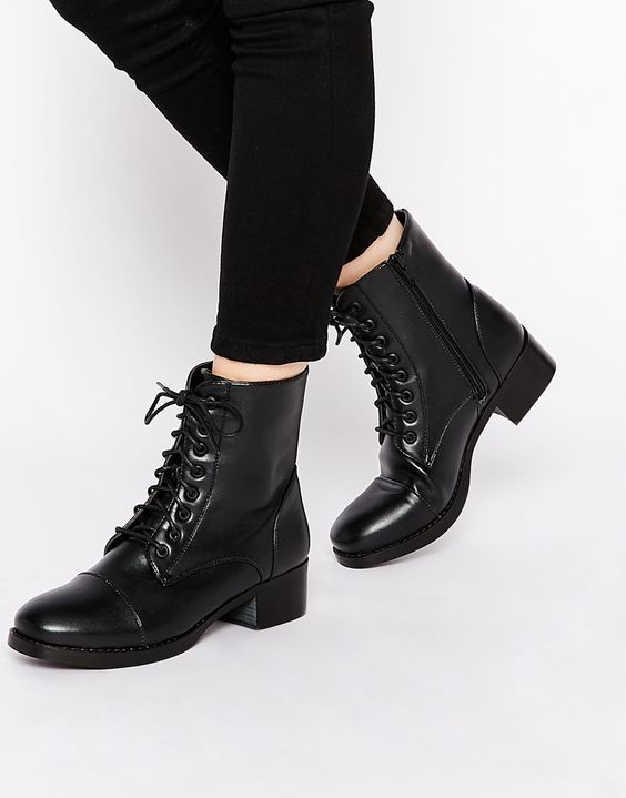 London Rebel Worker Flat Lace Up Ankle Boots | Shoes <3 ...