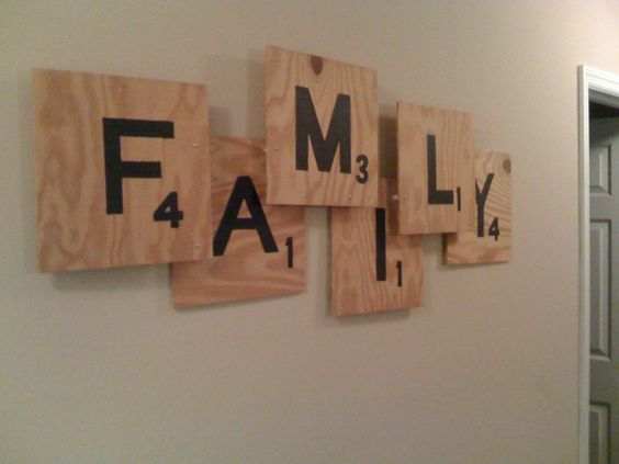 DIY scrabble wall art. Could make any word!kids names in gameroom