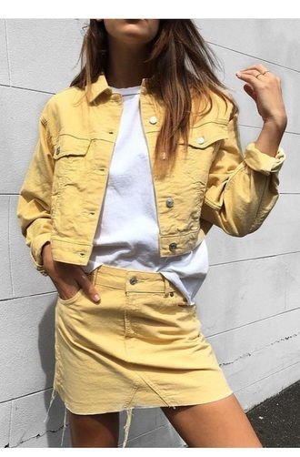 Summer Spring Style Double Denim Bright Yellow Denim Jacket And Matching Mini Skirt With Casual Plain White T-Shirt