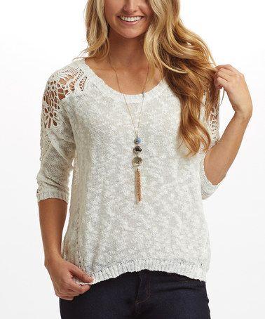 Look at this #zulilyfind! White Crochet-Accent Sweater #zulilyfinds