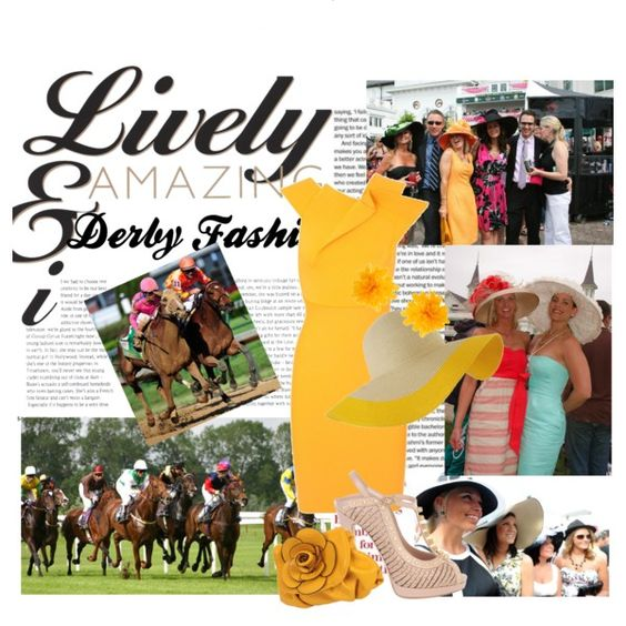 Kentucky Derby Fashion by tooterpies on Polyvore featuring Roland Mouret, Alexander McQueen, Forever 21, Pieces, wide brim hats, kentucky derby and spring