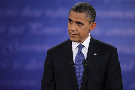 Barack Obama at the debate with Mitt Romney