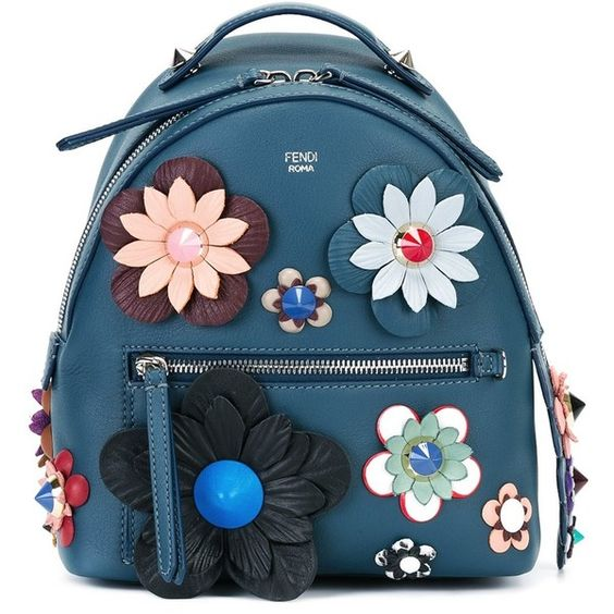 Fendi mini flower appliqué backpack ($2,740) ❤ liked on Polyvore featuring bags, backpacks, blue, flat backpack, leather backpack, colorful backpacks, genuine leather backpack and fendi backpack: