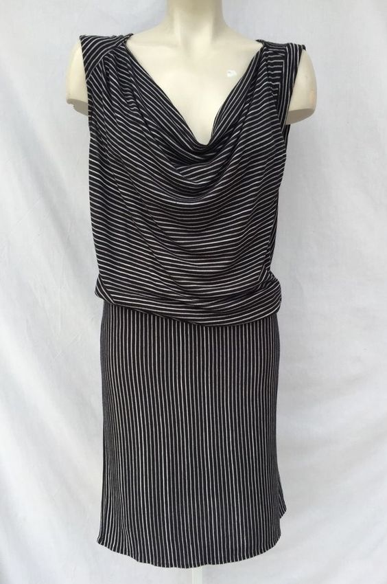 DEREK LAM FOR DESIGNATION STRIPED COWL NECK STRAIGHT SHIFT DRESS SZ L #DerekLam #Shift #WeartoWork