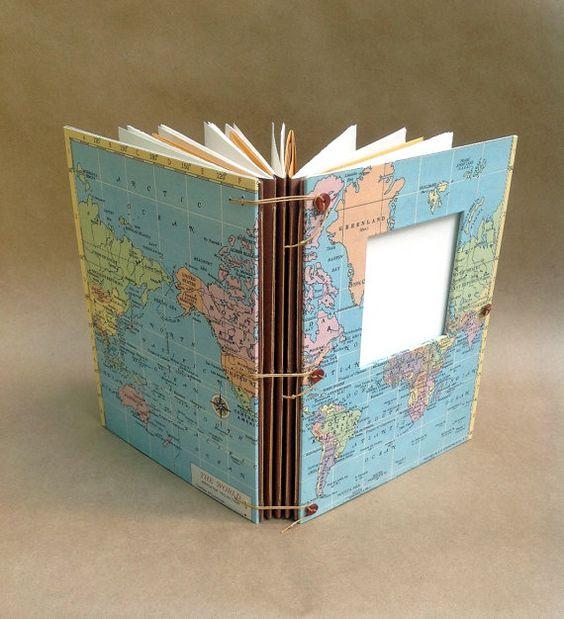 Erweiterbarer Travel Journal mit Vintage Weltkarte, Taschen und Umschläge für Fotos, Scrapbook, Kunst & sammeln - Made to Order