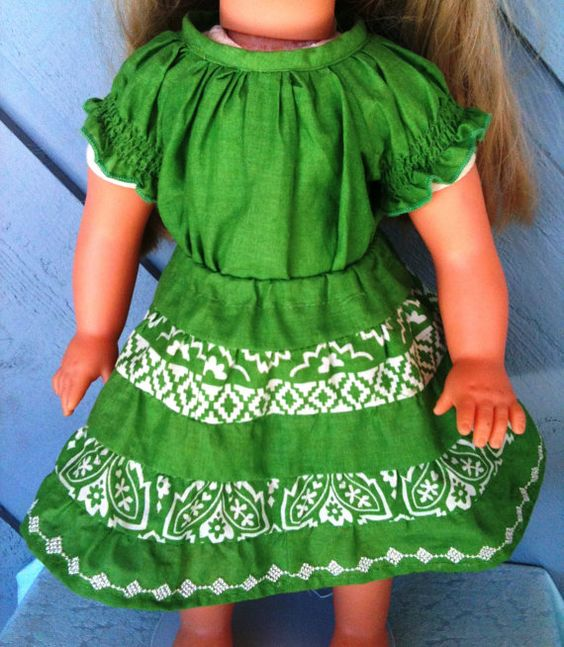 Doll Dress - OOAK Doll blouse and skirt - Green and white