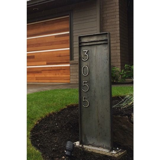 Custom fabricated industrial modern address sign in blackened stainless steel