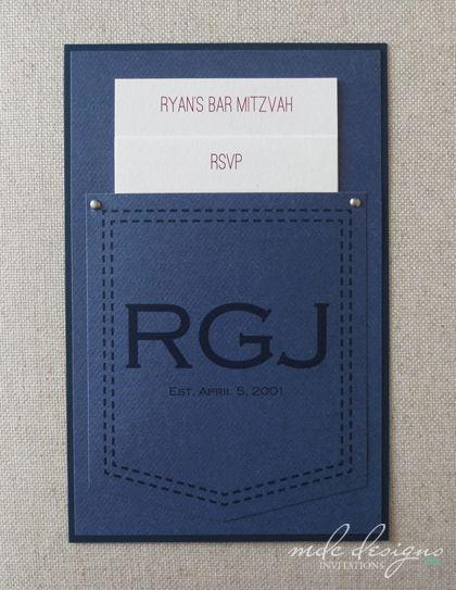 blue jean bar mitzvah invitation - unique pocket invite