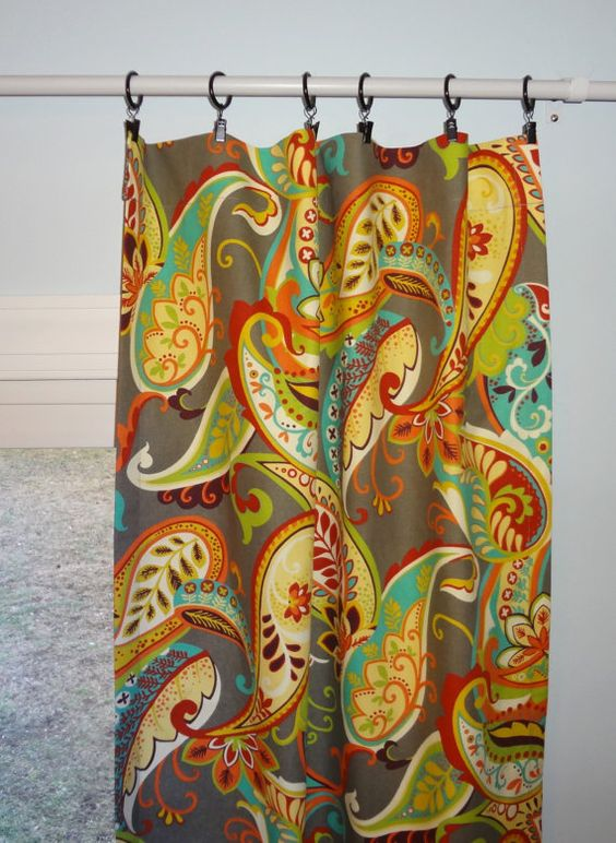 Curtain Panels Paisley Multi Color Covington Whimsy Curtain Panels ...