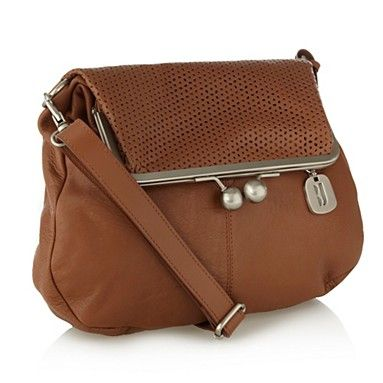 Tan perforated flap leather across body bag by Betty Jackson
