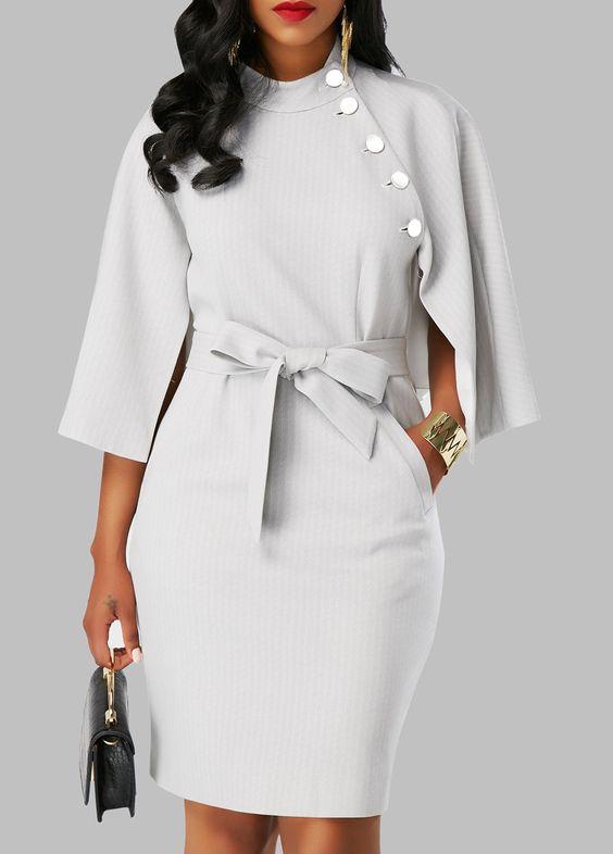 Cape Sleeve Back Slit Belted Dress on sale only US $31.88