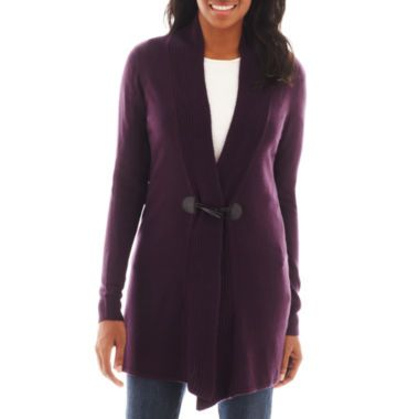 Susan Lawrence Long-Sleeve Shawl Collar Cardigan  found at @JCPenney