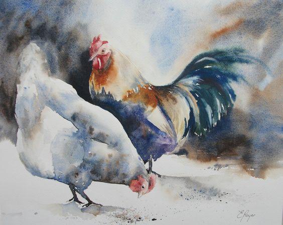 Poule et coq aquarelle mes aquarelles pinterest for Pinterest aquarell