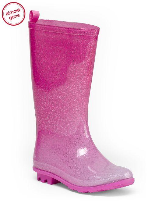 Girls Ombre Glitter Jelly Rain Boots