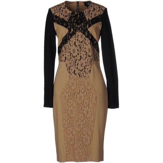 Class Roberto Cavalli Knee-length Dress ($430) ❤ liked on Polyvore featuring dresses, sand, long sleeve jersey dress, lace dress, longsleeve dress, knee length lace dress and long sleeve knee length dresses