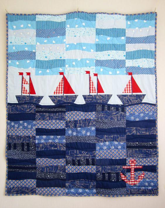 Quilt with Patchwork Sailboats , Children Blanket, Toddler Quilt, Nautical Quilt,  Handmade Quilt