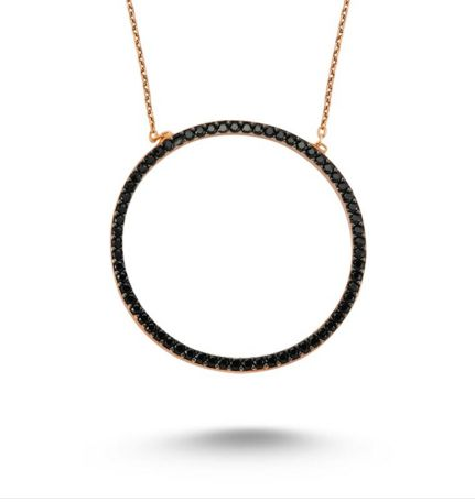 Circle Necklace in rose gold with black CZ crystals. Shop NOW at www.amorium.com
