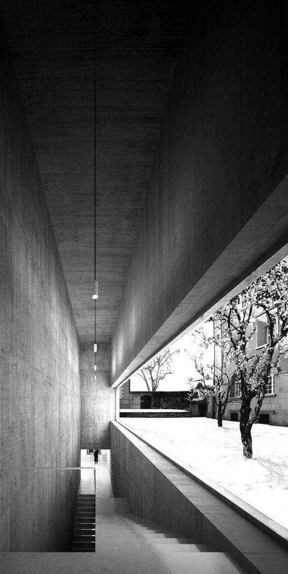 Erweiterung Bündner Kunstmuseum Chur light shadow stairs project tree black white