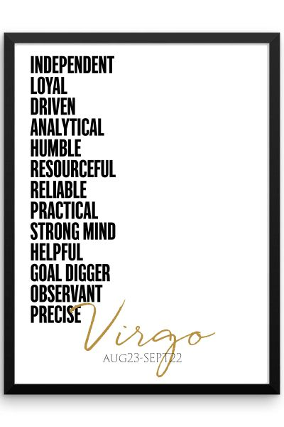 Virgo Qualities Framed Poster: