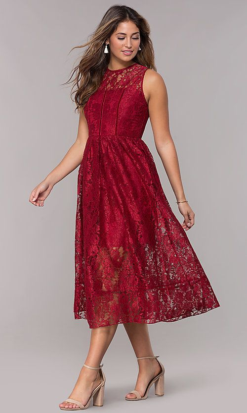 Burgundy Red Midi Length Wedding Guest Lace Dress Semi Formal Wedding Attire Formal Wedding Attire Lace Wedding Guest Dress