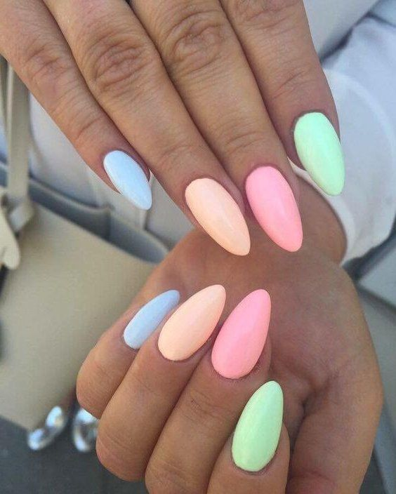 47 Most Eye Catching And Gorgeous Light Colour Nails Design With Different Colors For Beginner Nail Idea 08 E Multicolored Nails Nail Colors Rainbow Nails