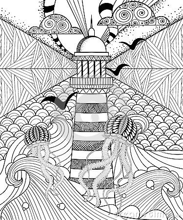 Hand Drawn Adult Coloring Page, Artistically Sea With Ethnic Lig - Download From Over 40 Million High Quality Stock Photos, Images, Vectors. Sign up for FREE today. Image: 65143308