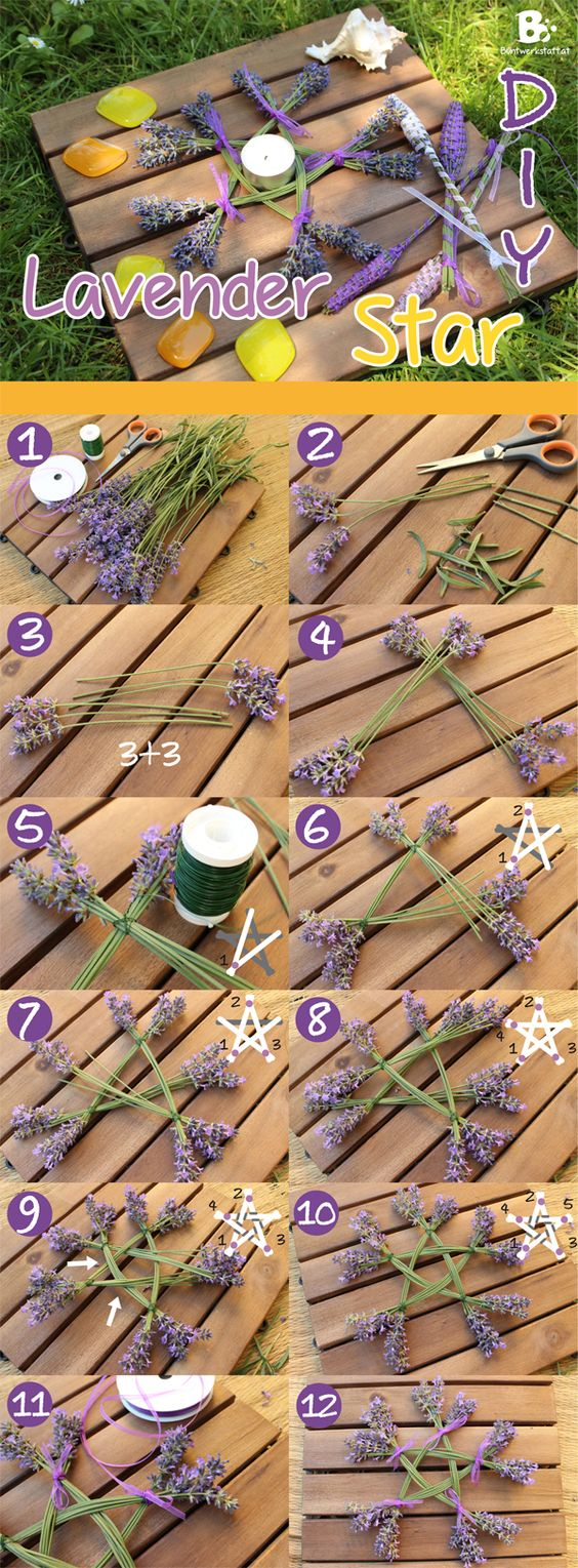 Lavender Star DIY Sweeeet!!! -- Love doing this!!! Nice Instructions (Don't forget - You can also incorporate number magick) -- #wicca #pagan #diy: