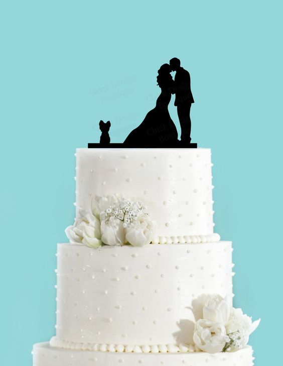 Couple Kissing with Yorkie Dog Wedding Cake Topper by ChickDesignBoutique on Etsy https://www.etsy.com/listing/222742660/couple-kissing-with-yorkie-dog-wedding