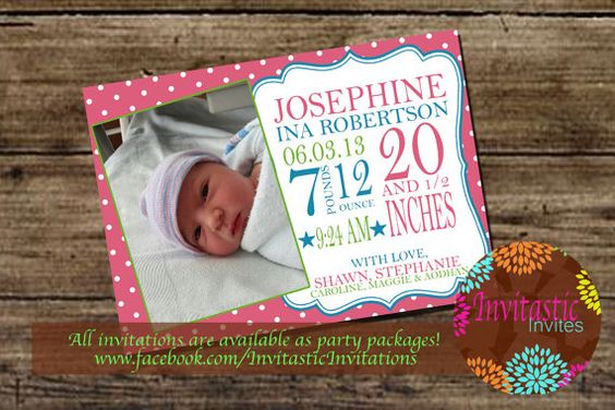 Birth announcements Baby Girl announcement by InvitasticInvites, $12.00