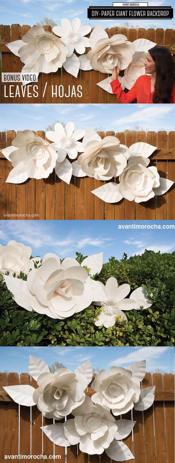 DIY Giant Paper Flower Backdrop. Amazing wedding decor. Templates available on my blog http://avantimorocha.com/. Mural de Flores de Papel Gigante. Decoracion fabulosa para bodas. Moldes descargables en mi blog.