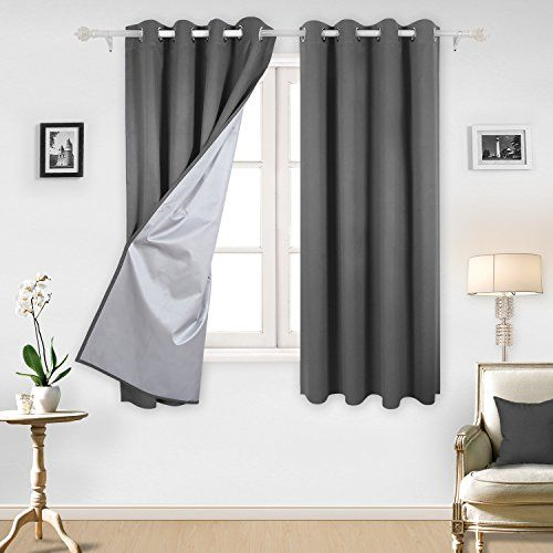 Deconovo Blackout Curtains Pair With Backside Silver Window Curtains For French Doors 52 By 63 Thermal Insulated Blackout Curtains Curtains Insulated Curtains
