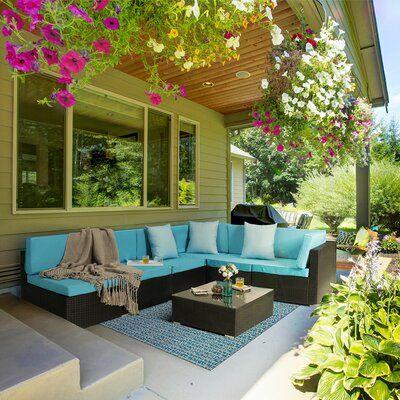 Latitude Run Arwynn 7 Piece Rattan Sectional Seating Group With Cushions Wayfair In 2020 Patio Furniture Sets Patio Furniture Outdoor Furniture Sets