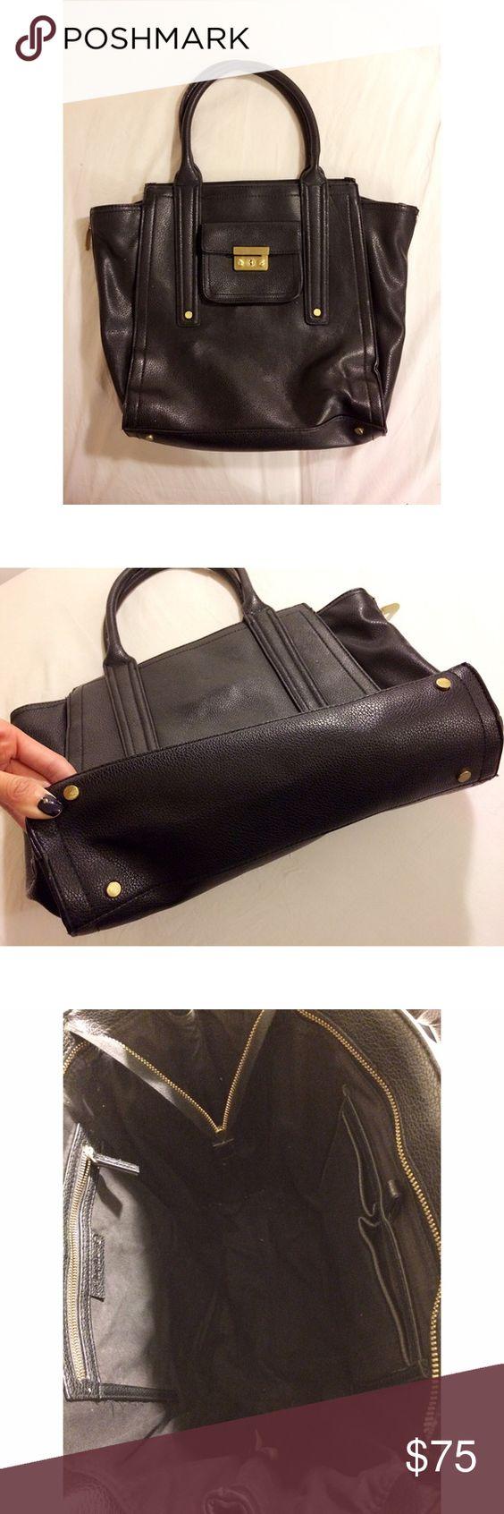 Large tote bags at target - Phillip Lim For Target Large Asymmetrical Black Vegan Leather Satchel Tote Bag Handbag Purse Carryall Zippers On Sides For Expansion