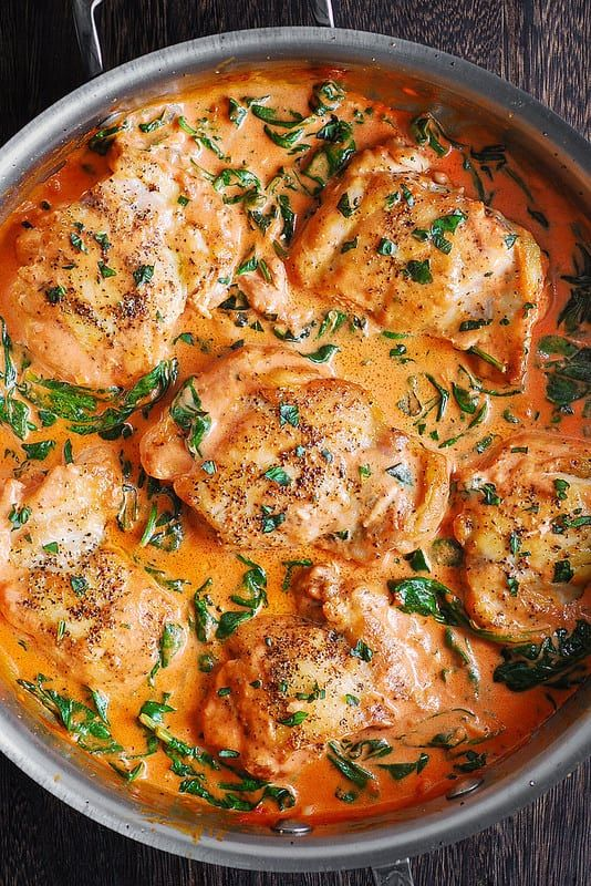 Skillet Chicken Thighs With Creamy Tomato Basil Spinach Sauce Chicken Thights Recipes Boneless Chicken Thigh Recipes Skillet Chicken Thighs