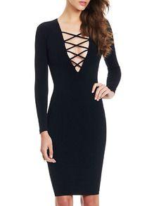 Black V Neck Lattice Bodycon Dress