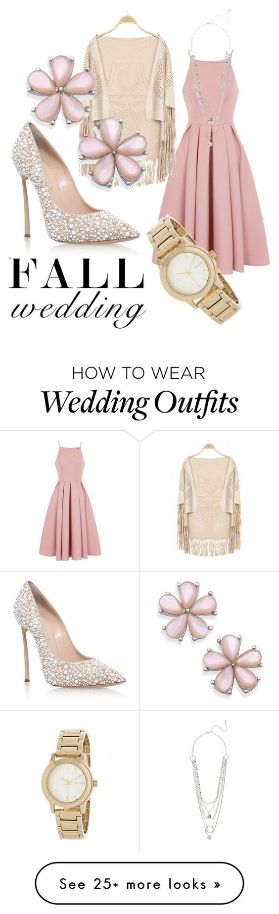 """Wedding Guest Attire"" by feistytulips on Polyvore featuring Chi Chi, Casadei, DKNY and fallwedding"
