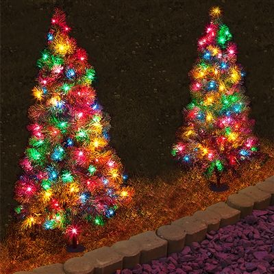 3 Ft Tall Pathway Tree With 70 Multi Colored Led Lights Qty 1 Outdoor Christmas Lights Christmas Pathway Lights Christmas Light Installation